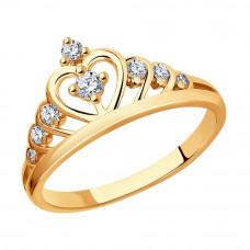 Кольцо из серебра с позолотой и с фианитами арт. 93010486