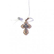 Крестик из серебра с позолотой без вставки арт. 10290