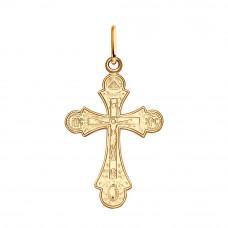 Крестик из серебра с позолотой без вставки арт. 93120011
