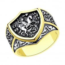 Печатка мужская из серебра с позолотой арт. 95010076