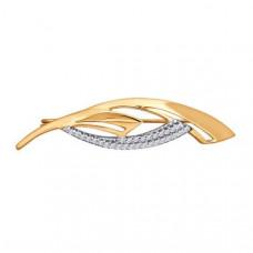 Брошь из золота с фианитами арт.040151