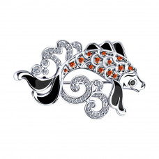 Брошь из серебра с фианитами арт. 94040154
