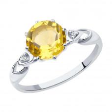 Кольцо из серебра с цитрином и фианитами арт. 92011089