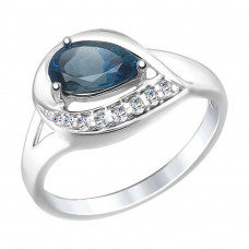 Кольцо из серебра с топазом и фианитами арт. 92011445