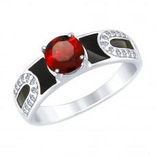 Кольцо серебряное с гранатом, фианитами и эмалью арт. 92011489