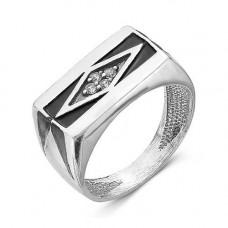 Печатка из серебра с эмалью и фианитами арт. 2386616