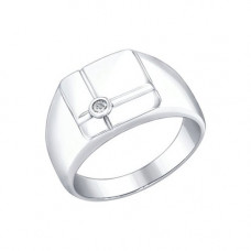 Печатка мужская из серебра с фианитом арт. 94010277