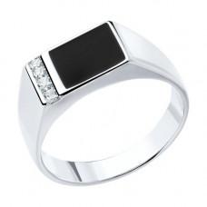 Печатка из серебра с эмалью и фианитами арт. 94010434
