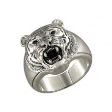Печатка мужская Тигр из черненого серебра с фианитами арт. 95010023