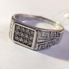 Печатка мужская из серебра с кубиками циркония арт. КС-4045 Р