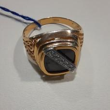 Печатка мужская из золота с фианитом арт.010250