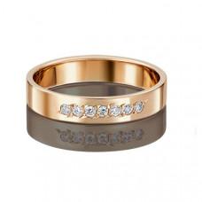 Кольцо обручальное из золота с фианитами арт.01-3491-18