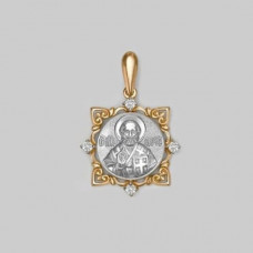 Иконка Святой  Николай Чудотворец из золота с фианитами арт.03-1724-11-401-1111-42