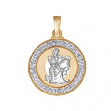 Подвеска «Водолей» из золота с фианитом арт.032501
