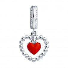 Подвеска Сердце из серебра с красной эмалью арт. 94032483