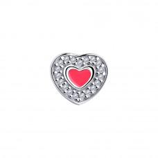 Подвеска-бегунок Сердце из серебра с фианитами и эмалью арт. 94032452