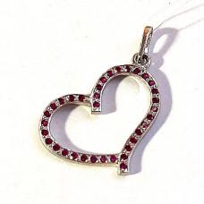 Подвеска из серебра Сердце с 36 камнями(шпинель) арт. ПС-6000 Р