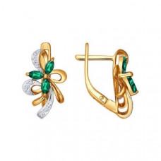 Серьги из золота с изумрудами и бриллиантами арт.3020272