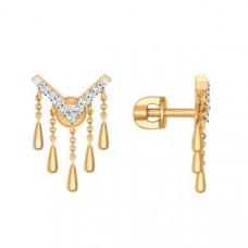 Серьги пусеты из золота с фианитами арт.027063