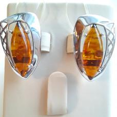 Серьги из серебра с янтарем арт. СП58р440