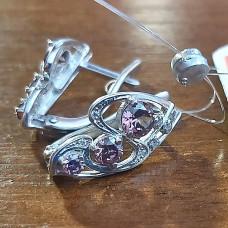 Серьги из серебра с родолитом и фианитами арт. СС-5130 Р
